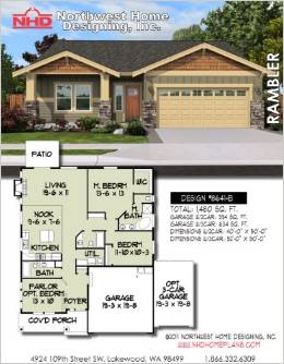 Design nhd 8641 b ranch rambler house plan for Rambling ranch house plans