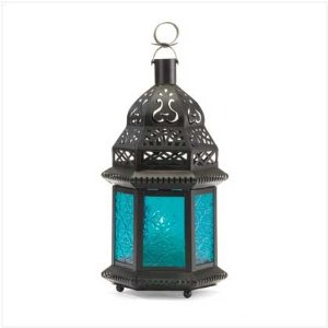 Moroccan Lantern Blue Glass Candle Holder Candleh